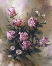Pink Roses & White Flowers