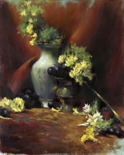 Chinese Vase with Yellow Carnations