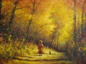 Fall Splendor with Girl and Dog